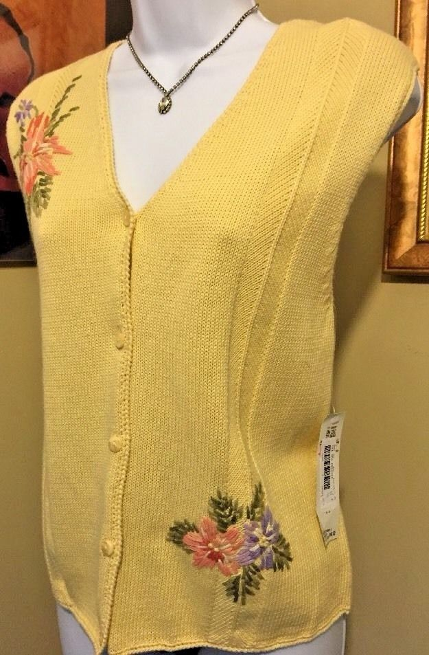 Napa Studio Yellow Cotton Blend Embroidered Sweater Vest Size S New With Tags