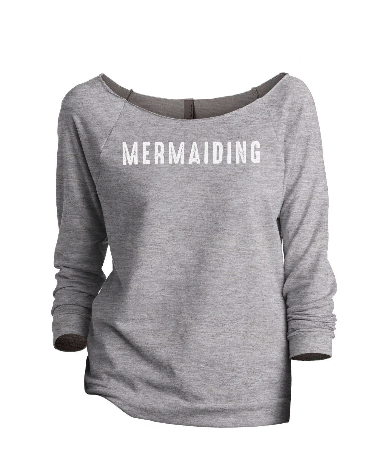 Thread Tank Mermaiding Women's Slouchy 3/4 Sleeves Raglan Sweatshirt Sport Grey