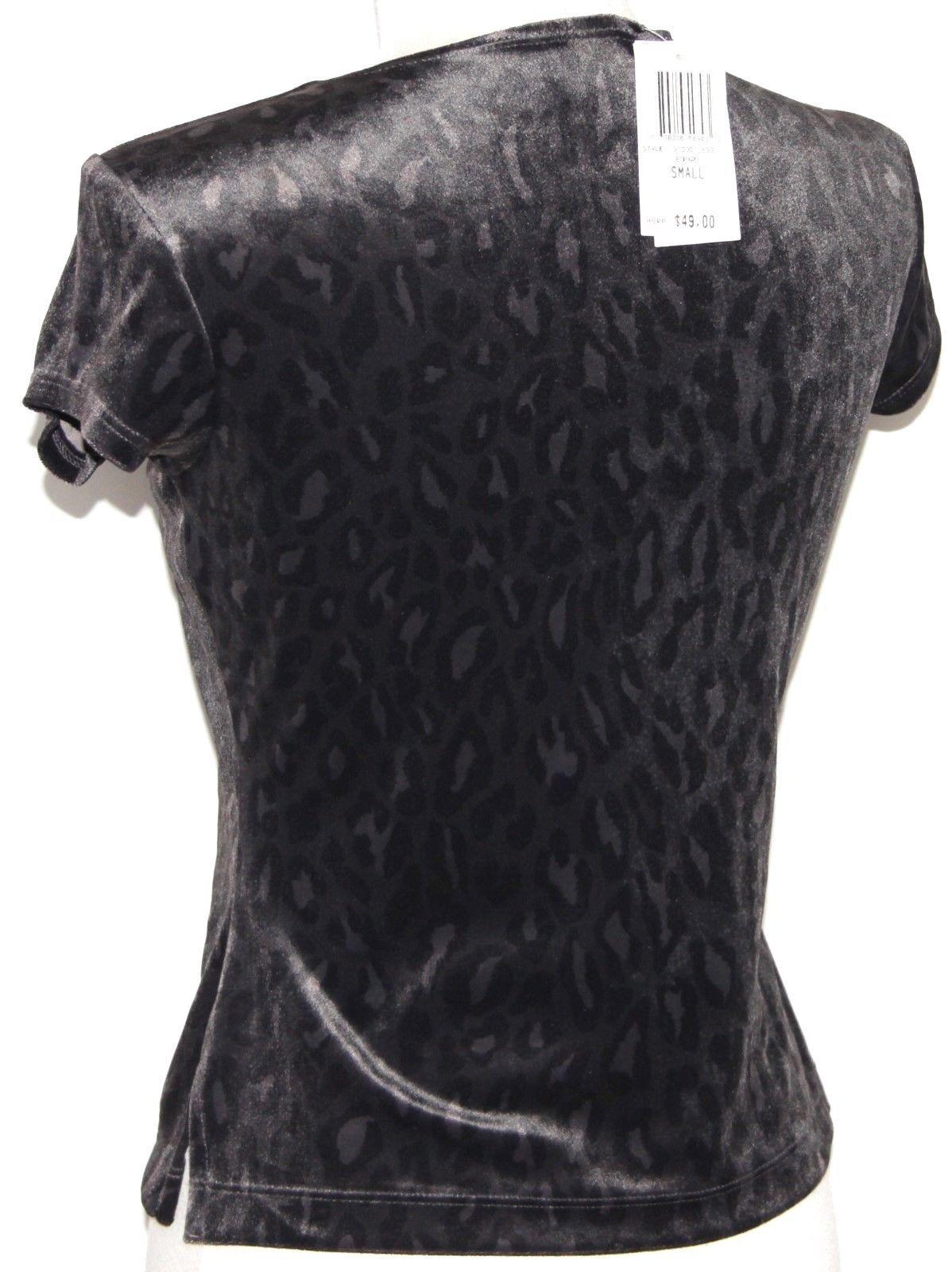 S INC Ladies Gothic Emo Goth Rockabilly Velvety Leopard Print Shirt Blouse Top