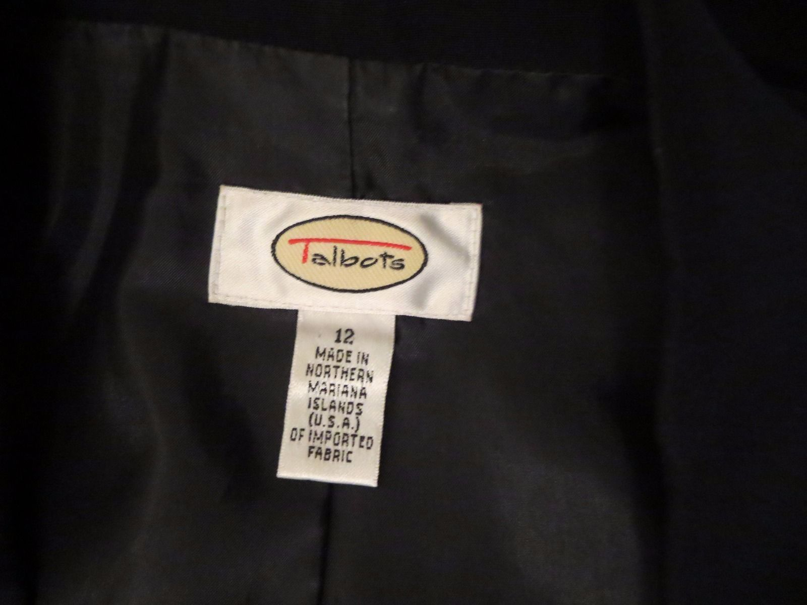 Talbots Women's Size 12 Two Button Black Blazer Excellent Condition High Quality image 3