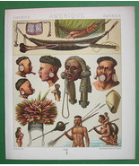 AMRICAN INDIANS Costume Botocudos Camacan - COLOR Litho Print by A. Racinet - $9.45