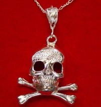 NICE Big Sterling Silver Skull and Cross Bone Pendant Charm - $40.15