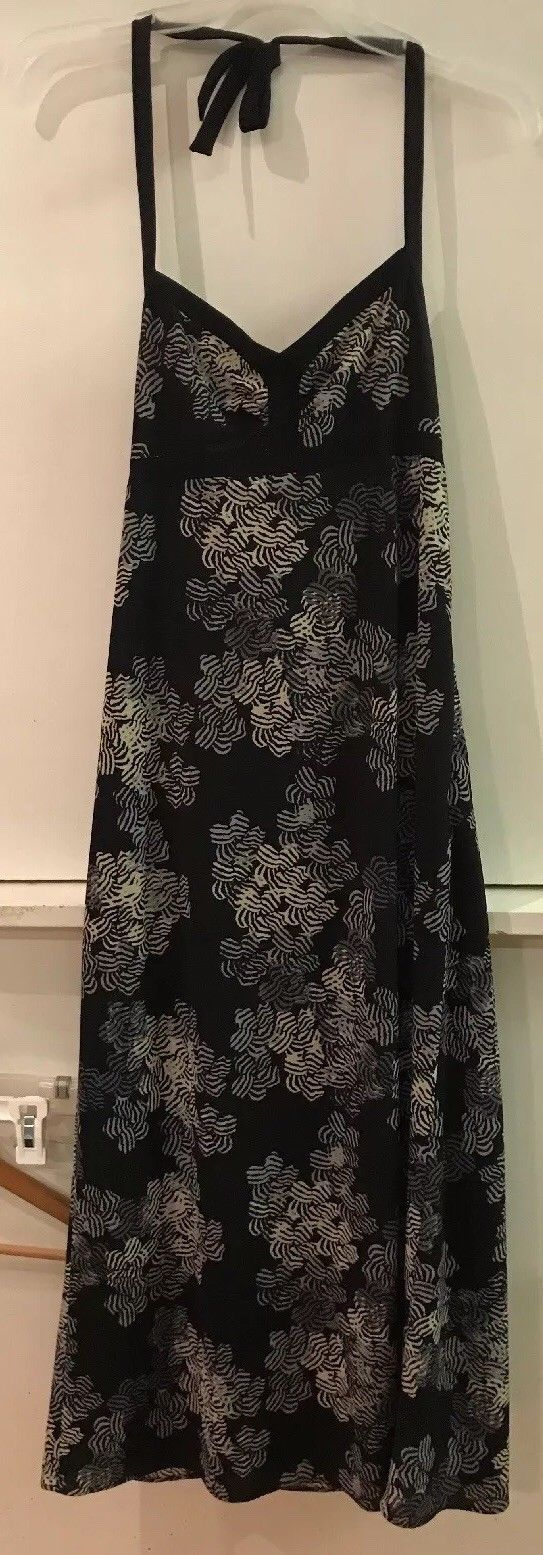 Primary image for J CREW Womens Black Beige Floral Maxi Long Halter Top Dress 0