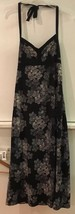 J CREW Womens Black Beige Floral Maxi Long Halter Top Dress 0 - $18.95
