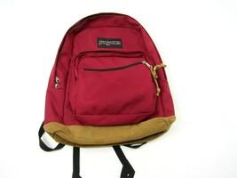 Jansport Originals Backpack Red Suede Leather Bottom Bag School  - $32.62
