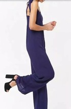 Forever 21 Self Tie Strap Wide Leg Jumpsuit One Piece Navy L NEW - $14.72