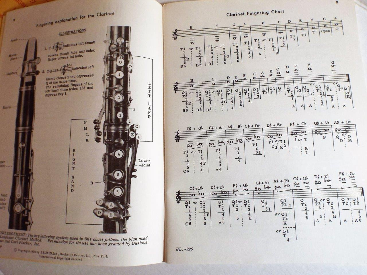 WALN ELEMENTARY CLARINET METHOD George Waln SC/1956 Music Book Vintage