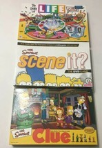 The Simpsons Life, Clue & Scene It Board Games  - $39.59