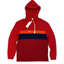 Lacoste Men's Hooded T-Shirt Red Stripe Big Croc Long Sleeve Lightweight... - $54.99