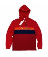 Lacoste Men's Hooded T-Shirt Red Stripe Big Croc Long Sleeve Lightweight... - $54.99