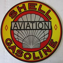 "SHELL Gasoline Automotive Metal Sign ( 12"" Round ) - $15.95"