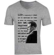 Scott Fitzgerald Life Quote - New Cotton Grey V-NECK Tshirt - $20.75
