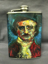 Edgar Allan Poe Horror Flask 8oz Stainless Steel Drinking Whiskey Cleara... - $9.90