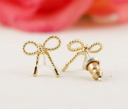 5 pairs of Bowknot Golden Stud Earring Stud - $12.50