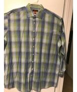 NYNE Men's Blue N Green Plaid Shirt Long Sleeve 100% Cotton Size 3XL - $0.98