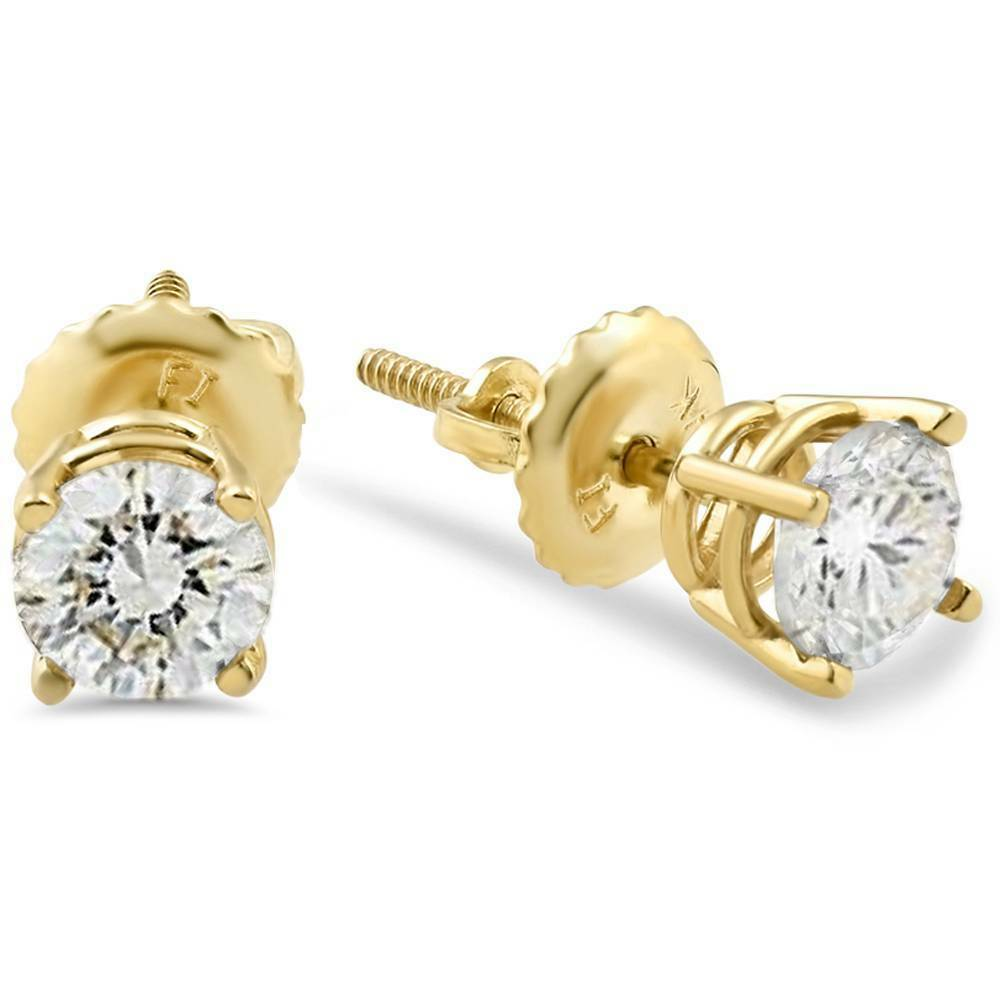 Primary image for 1/2ct Diamond Stud Earrings Solid 14K Yellow Gold Finish Screw Back 925 Silver