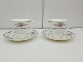 Wedgwood Bone China Cup & Saucer Set of 2 Charlotte White Gold Trim Engl... - $21.76