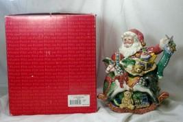 Fitz & Floyd Old Fashioned Christmas Tea Pot Santa In Box - $50.39