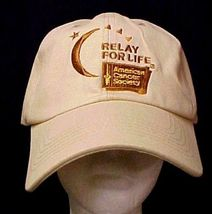 Relay For Life Low Rider Baseball Hat Caregiver Cancer Awareness Tan Cap... - $12.71