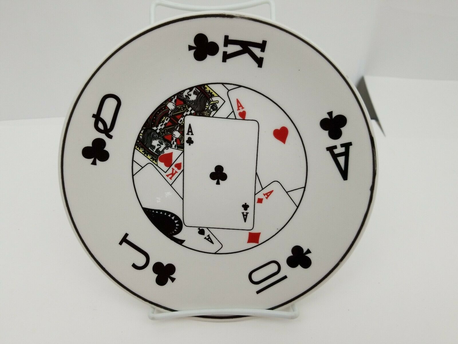 "Playing Cards Snack Plates Set of 4 Side Dessert Bread Dishes 8.25"" NEW 4 Suits image 2"