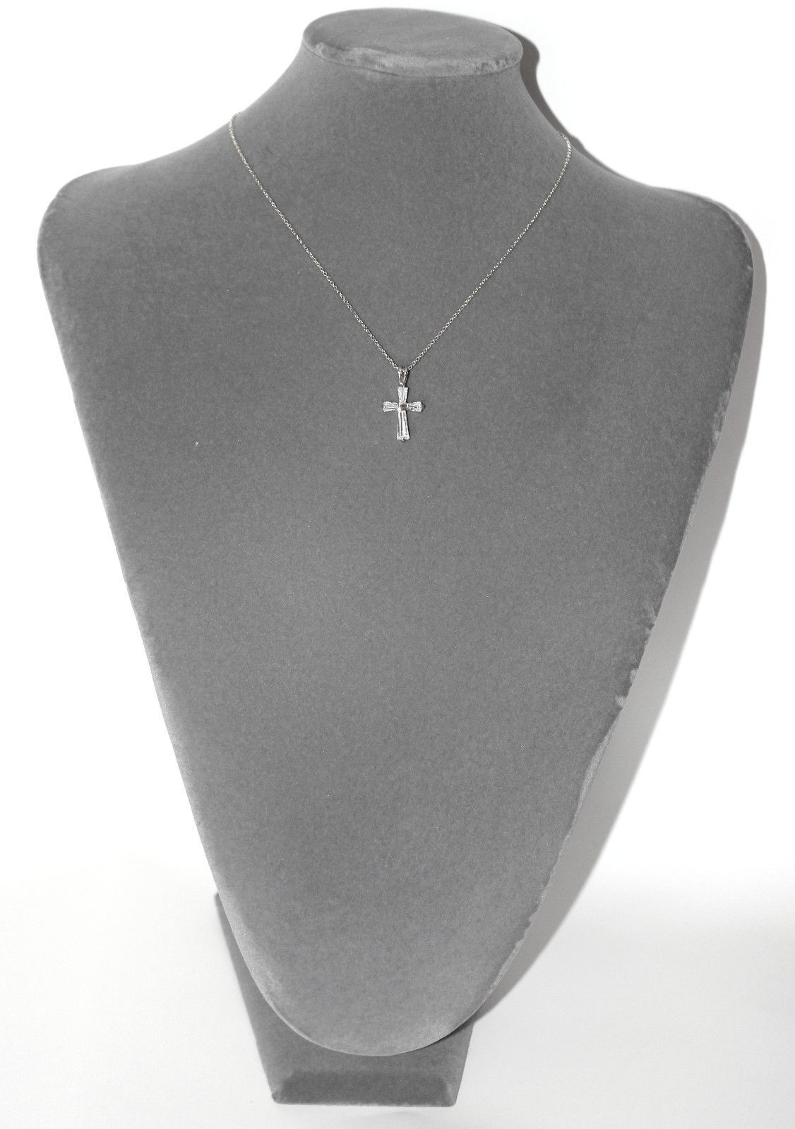 Girls Womens Clear Cubic Zirc. Baguette Cz 14K White Gold Bonded Cross Necklace