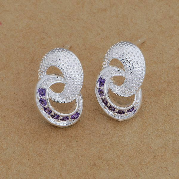 Primary image for Double Loop Stud Earrings with Purple Crystal 925 Silver NEW
