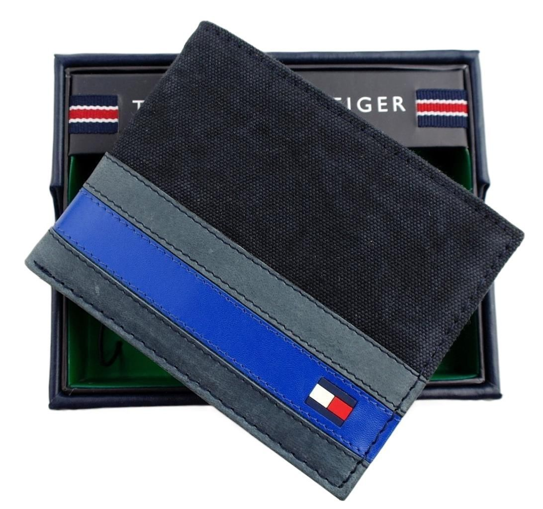 Tommy Hilfiger Men's Leather Canvas Credit Card Wallet Billfold Navy 31TL22X050