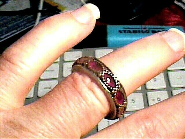 Sterling Silver 925 ring RUBY NATURAL BAND SOLITAIRE SZ 8.5 VINTAGE OLD RARE WOW