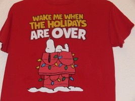 Snoopy Wake Me Up When The Holidays Are Over Christmas T-shirt Peanuts S... - $9.99