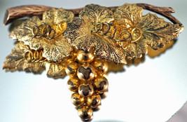 Vintage Grape Vine & Leave Cluster Brooch / Pin L.S. Co. 1/20 10K Gold F... - $25.99