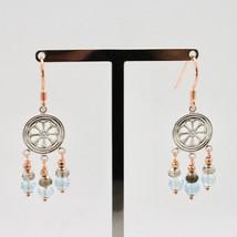 925 Silver Earrings Laminate Rose Gold with Smoky Quartz aquamarines image 2
