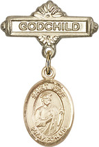 14K Gold Baby Badge with St. Jude Thaddeus Charm Pin 1 X 5/8 inch - $468.56