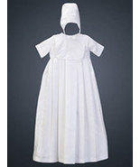 0-3 Months Boys Shantung Gown with Matching Hat - $37.00