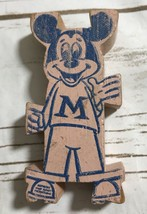 Vintage Wood Wooden Mickey Mouse Puzzle Shaped Figure Block Toy Collectible - $9.82