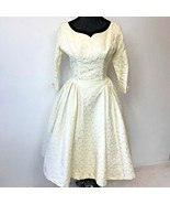 Vintage 1950s Emma Domb Tea Dress size M Ivory Textured Roses Wedding? DS2 - $74.95