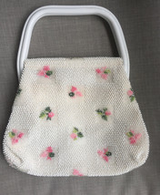 Vintage 1950's Lumured white beaded rose handbag purse - $22.00