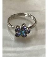 Estate Dainty Cookie Lee Purple & Blue Rhinestone Daisy Flower Adjustabl... - $9.49