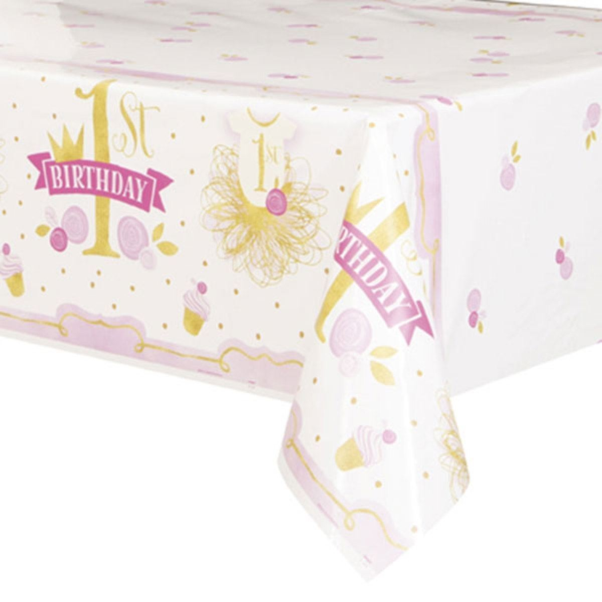 1st Birthday Pink Gold Girls Tablecover 54 x 84