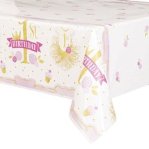1st Birthday Pink Gold Girls Tablecover 54 x 84 - $5.69