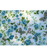 MoD Vintage Cannon Monticello Aqua and Green Butterfly + Florals KING Fl... - $28.00