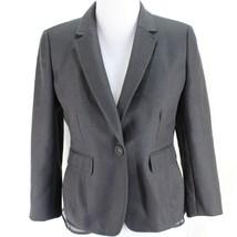 Ann Taylor Blazer Loft Jacket Sz 2 Gray Textured Polyester Wool Blend Lined  - $21.99