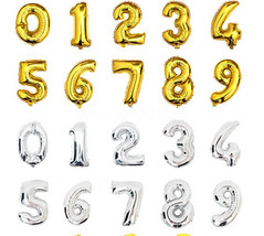 16 inch Gold or Silver 1-9 Number Balloons,Helium balloons - $2.00