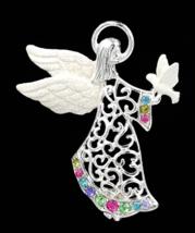 Christopher Radko Rhinestone Angel Brooch with Christmas White Dove  - $24.00