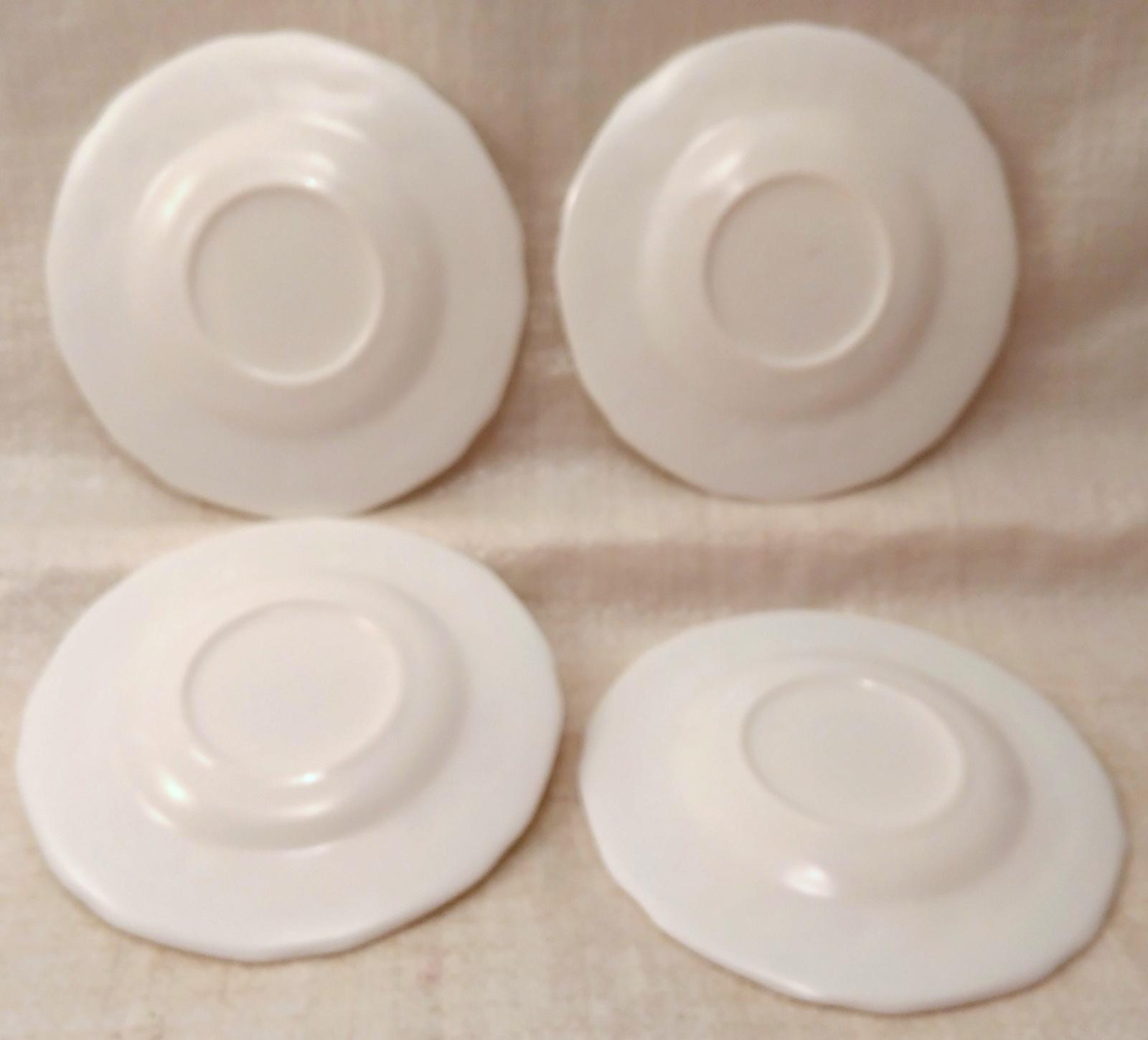 4 Indiana Colony Milk Glass Opaque White Harvest Grape Saucers