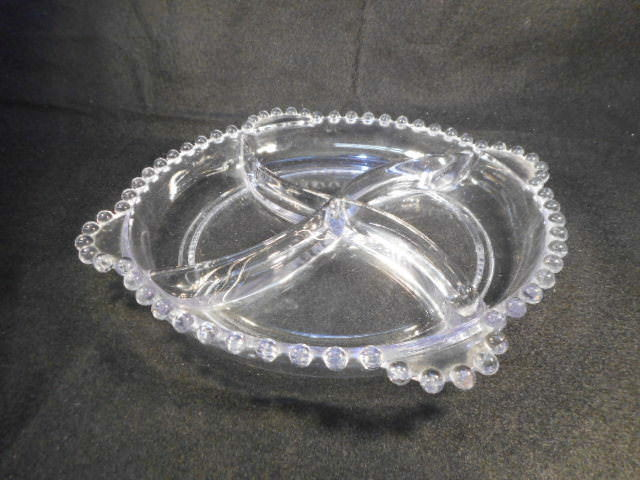 Vintage Imperial Candlewick Clear Glass 4 Part Divided Handled Serving Tray Dish
