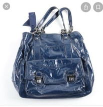 "Coach G1169-18717 Poppy Blue Patent Leather Hobo Bag 13""L x 13""W x 21""H - $275.00"