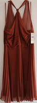 NWT $190 Anne Klein Silk Pleated Dress 14 L Exotic Nights Brown Terracot... - $79.19
