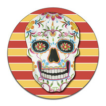 Dia De Los Muertos Colorful Skull Ghosts Dead Round MDF Wood Sign - $29.65