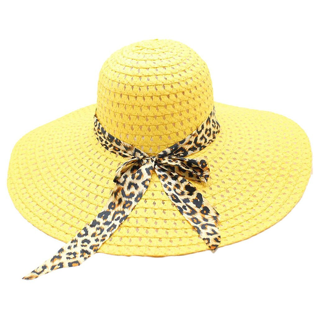 Leopard Print Big Brim Straw Hat Floppy Wide Sun Hat Beach summer straw hat wome