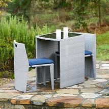 Modern 3 Pc Grey Wicker Patio Dining Set Navy Blue Cushions Handmade Fur... - $307.07